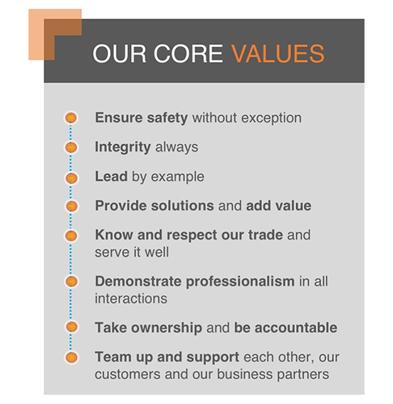 Technical Diagnostic Services (TDS) Core Values